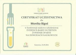 certyfikat Żywienie oparte na dowodach naukowych M.Bigoś