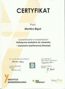 certyfikat Holistyczne podejście do człowieka