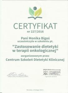 certyfikat Zastosowanie diety w chorobie onkologicznej dietetykw