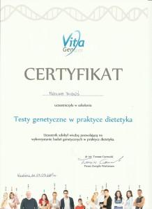 certyfikat testy genetyczne